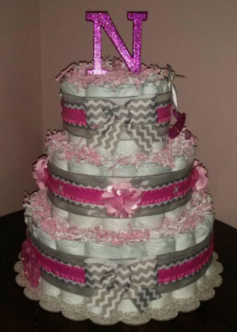 Baby Girl Chevron Initial Diaper Cake