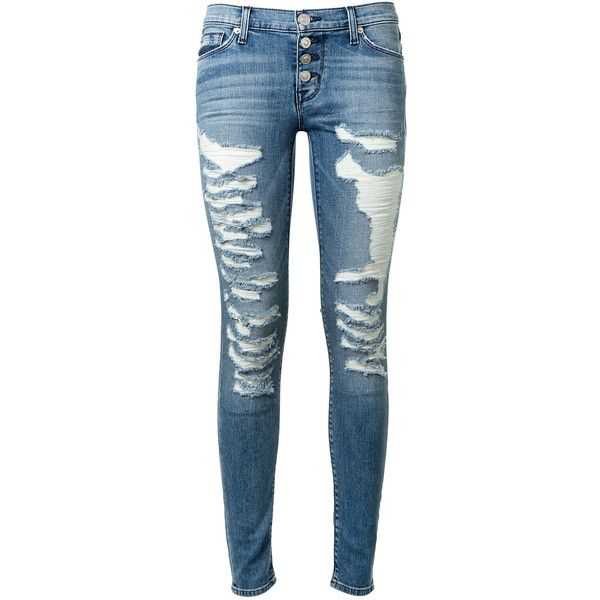 Hudson Ciara Super Skinny Washed Light Blue Jeans (425 CAD) ❤ liked on Polyvore featuring jeans, blue jeans, hudson jeans, ripped jeans, ripped skinny jeans and distressed jeans