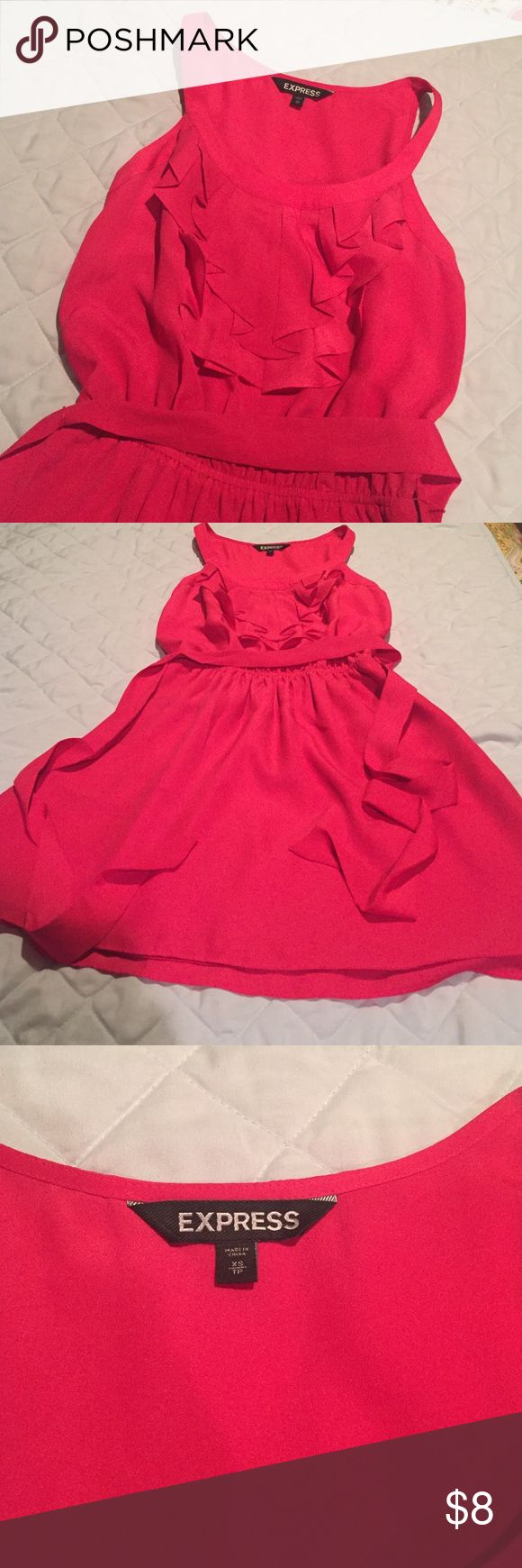 """Express pink ruffle dress Cute and fun express dress with a ruffle on top and a ribbon belt. Few small """"drink"""" stains- but probably would come out with a wash. Express Dresses Mini"""