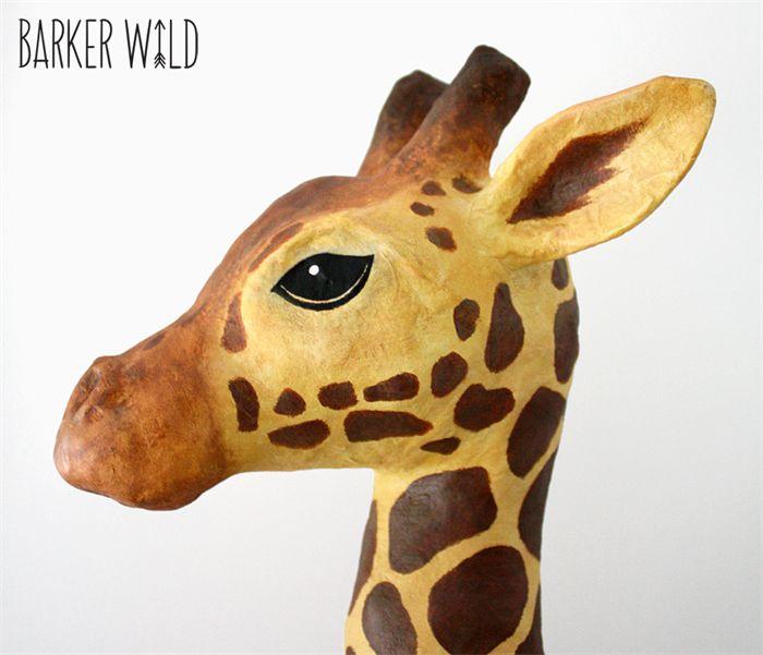 SALE Giraffe Head Faux Taxidermy Wall Art Animal Head Paper Mache sculpture OOAK | Barker Wild | madeit.com.au #giraffe #animalprint #madeitau