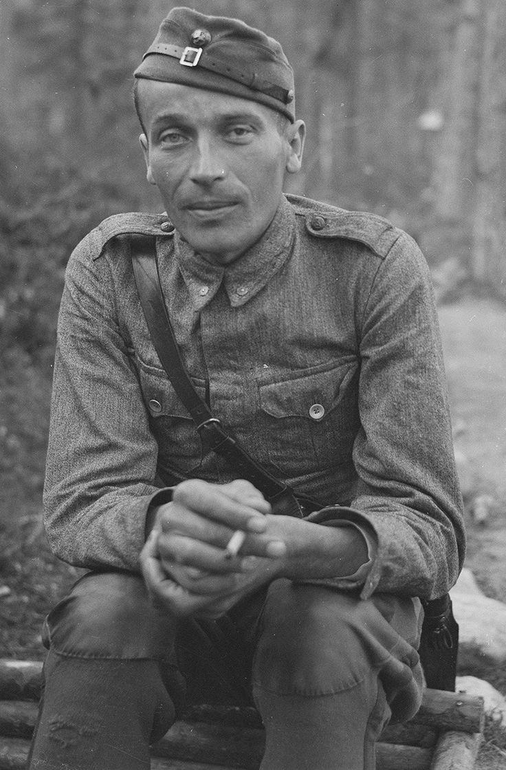 """ Second Lieutenant, Toivo Korte (1911-1965) at Kiestinki area, 6 September 1942. This man was called to service and fought in all 3 wars of Finland during WWII, despite the fact that his other eye was completely blinded in an accident. He somewhat..."
