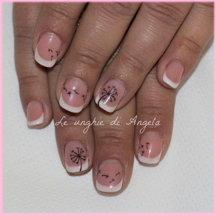 Dandelion on gelpolish french manicure