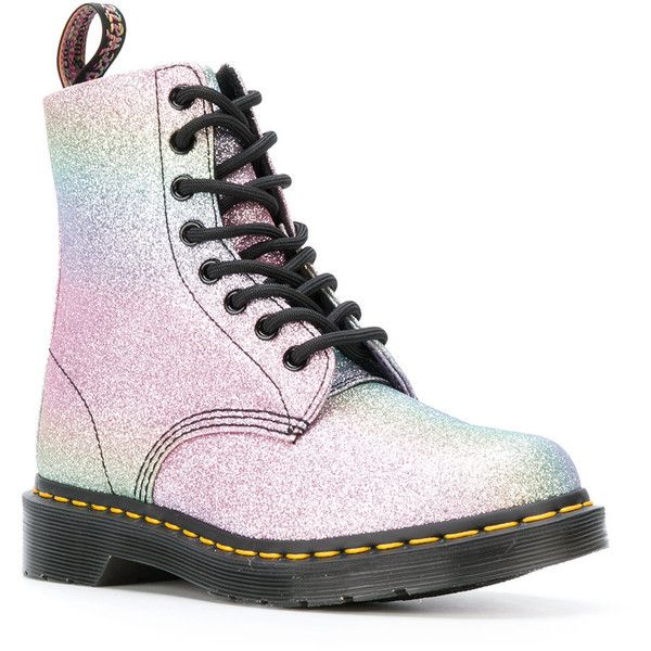Dr. Martens Glitter Pascal boots ($250) ❤ liked on Polyvore featuring shoes, boots, dr martens boots, dr. martens, glitter boots, sequined shoes and white boots