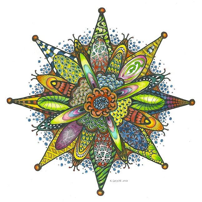"Karen Gaskin: Zentangle Snowflake with Color, 2012 Micron Pen on Bristol, 10"" x 10"", Derwent Inktense Pencils"