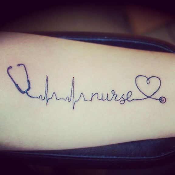 nurse tattoo RN stethoscope heart rhythm