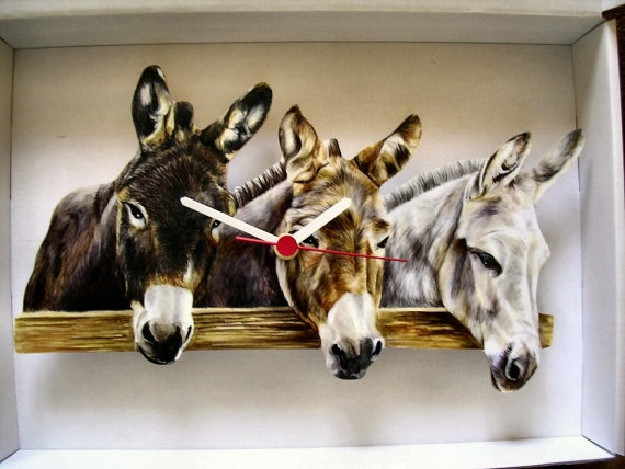 Three Farmyard Donkeys Mules Wall Clock By Link4U On Etsy, £12.99
