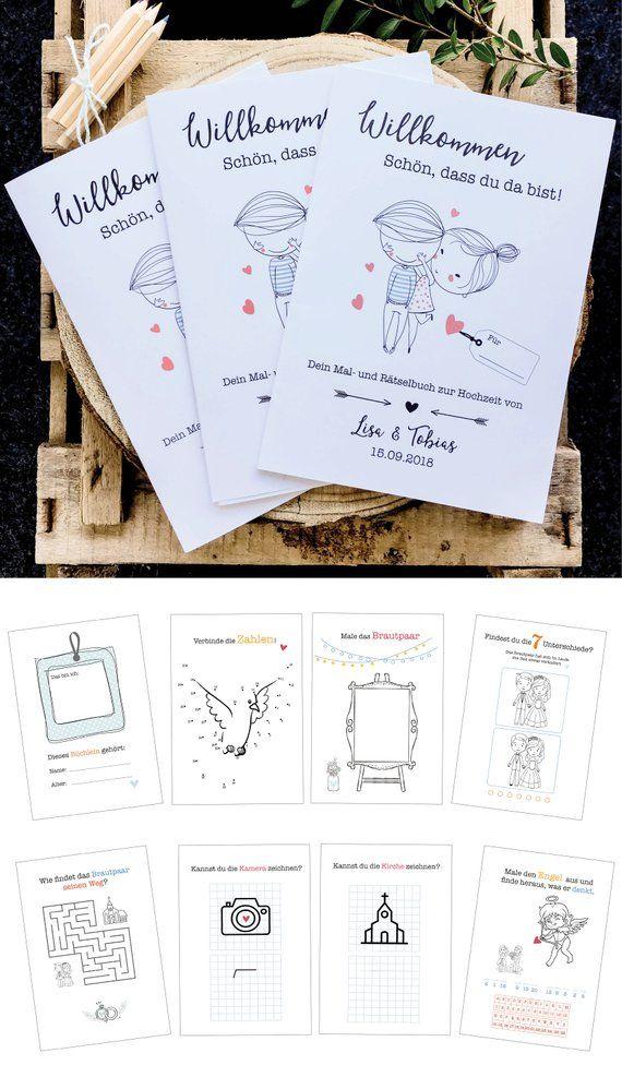 3 Personalisierbare Hochzeitsmal Und Ratselbucher Fur Kinder Etsy Wedding Painting Personalized Wedding Puzzle Books