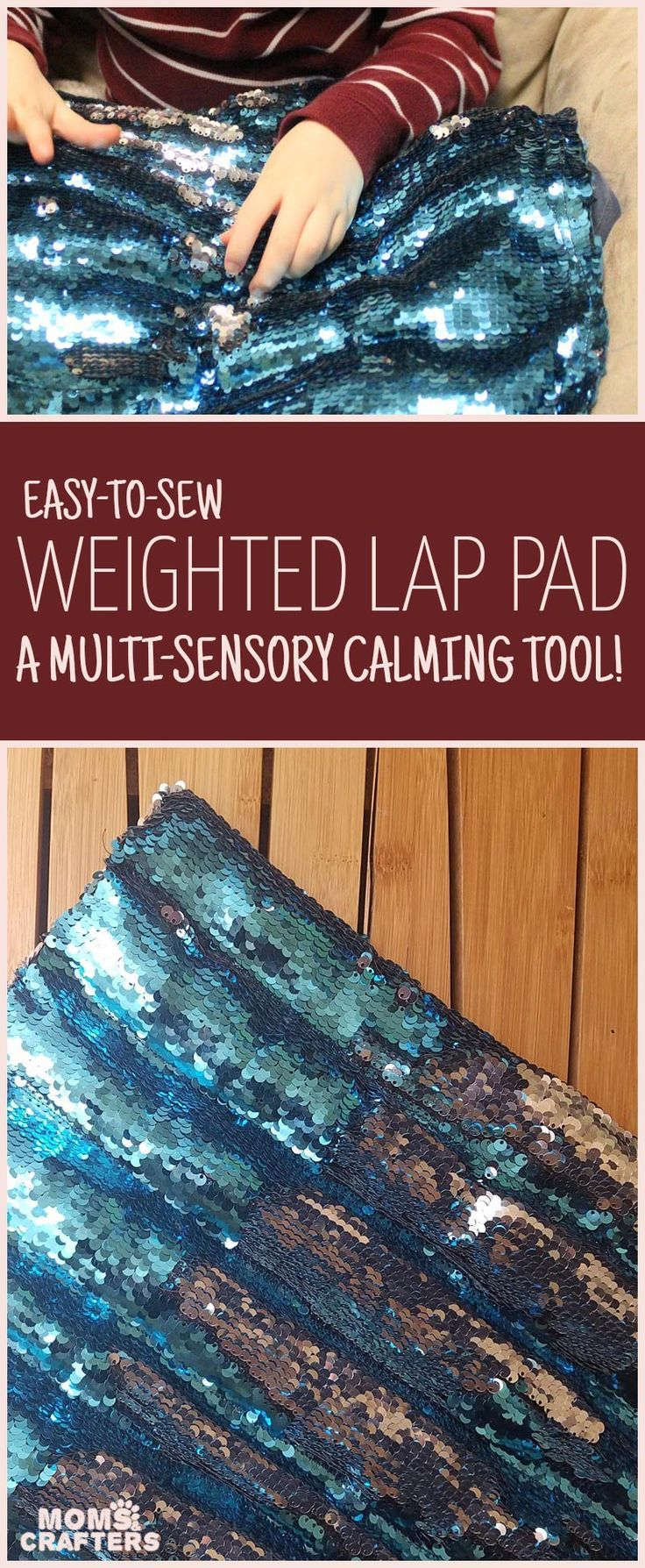 Make a DIY weighted lap pad - an easy beginner sewing project for moms! This calming sensory tool offers multi-sensory stimulation and is perfect for calming young children with anxiety. It's a DIY toy and a simple half-hour craft for moms all in one!