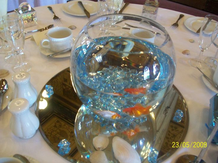 Fish Bowl CenterPieces for Weddings..Find great discounts at http://fishbowlcenterpieces.org