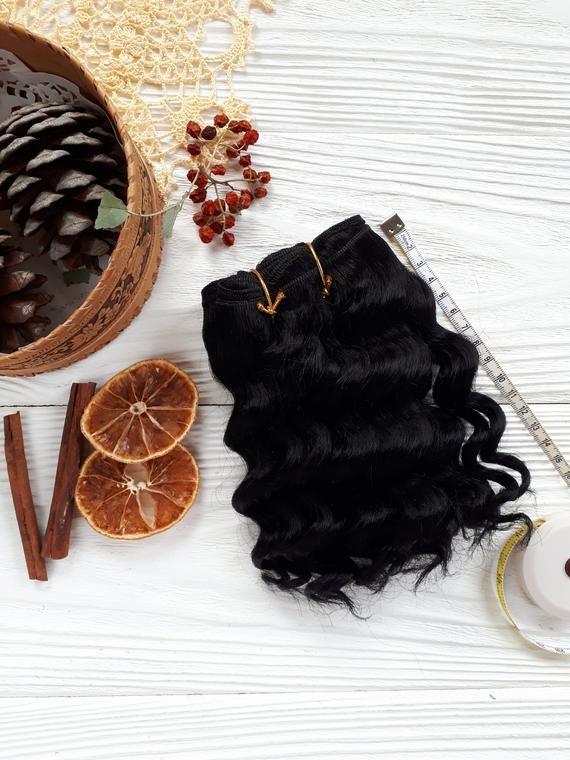 coarse mohair weft wavy black, doll hair, doll making, waldorf inspired doll hair, Blythe doll hair