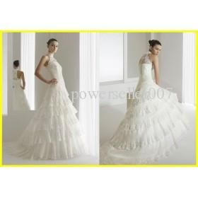 2011 High Collar Lace Tulle Chapel aire barselona Bridal Gown Wedding dresses
