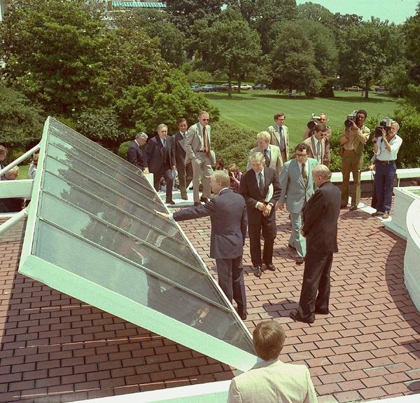 U.S. President Jimmy Carter dedicates the White House solar panels, 20 June 1979, Photograph © Jimmy Carter Library.