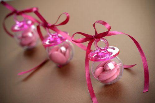 Baby Schnuller zum befüllen rosa 24 Stück Babyshower Babyparty Mitgebsel Gastgeschenke