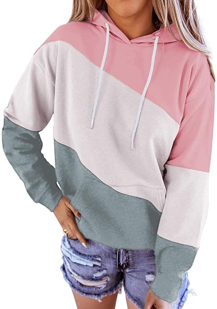 Womens Color Block Hoodie Long Sleeve Drawstring Pullover Sweatshirt With Pocket
