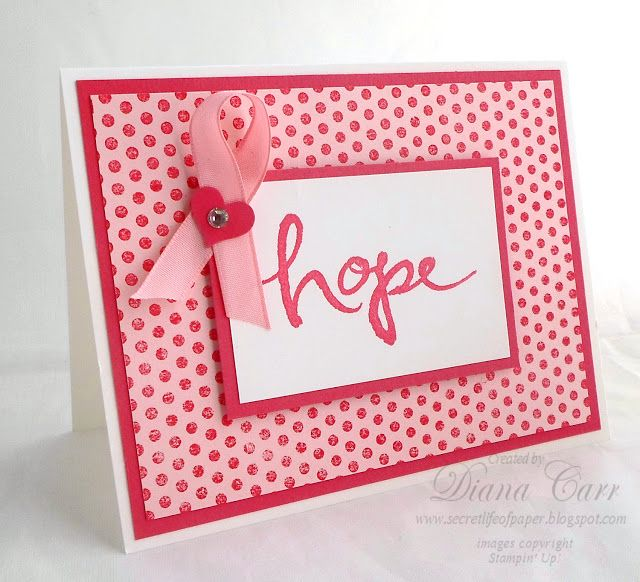 Stampin' Up! Watercolor Words - Breast Cancer Awareness - Hope - www.secretlifeofpaper.com
