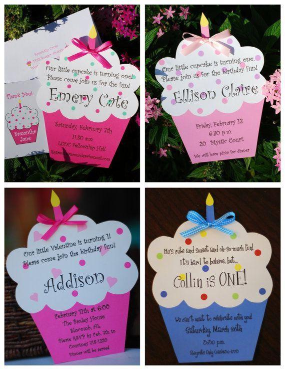 Cupcake Birthday Invitation by palmbeachpolkadots on Etsy, $2.00
