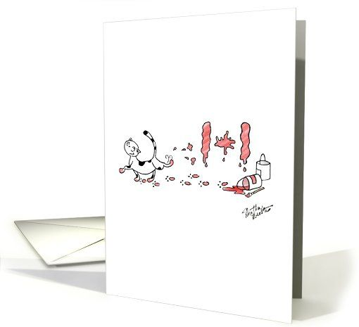 Fluffy the Cat celebrates Canada Day in a messy way Card by Heather Broster