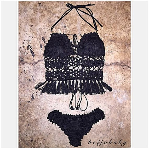 Shayla fringe crop bikini by beijobaby on Etsy