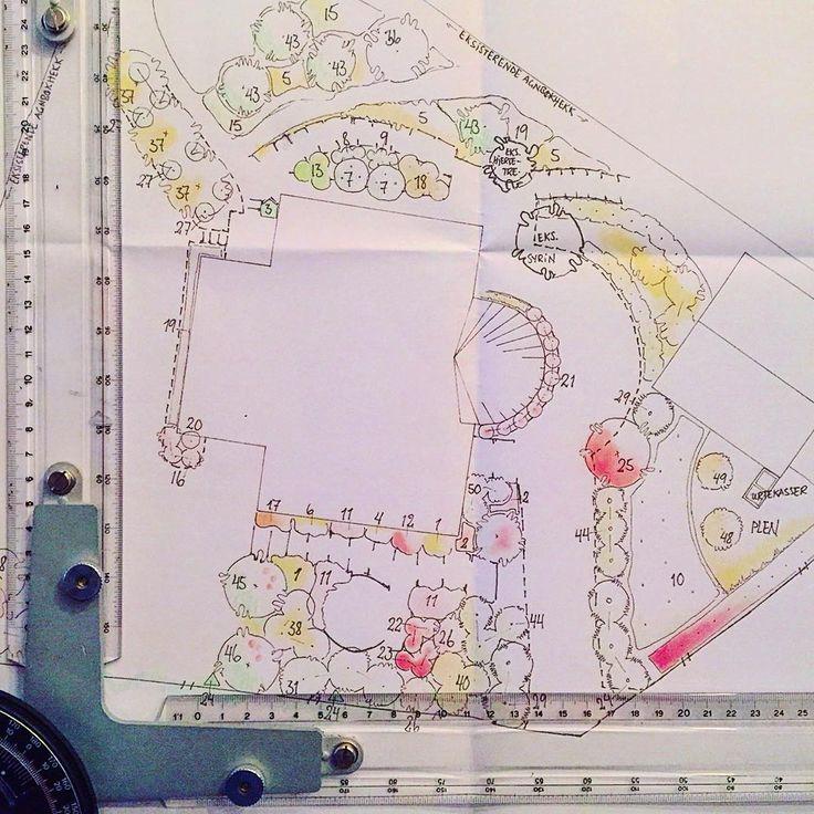 Dette er et eksempel på hvordan vi i Bygartnerne jobber med hagedesign! ☝️I denne prosessen gjør vi et grundig forarbeid og skaffer alt av nødvendig innsyn, plantegninger og kart fra kommunen. Vi skriver også søknader for tiltak der det kreves, tar alle nødvendige mål og setter opp en detaljert planteplan for tomten!  #bygartnerne #anleggsgartner #oslo #hageliv #hageglede #hage #hagedesign #hagearkitekt  #hagersomvarerlenger