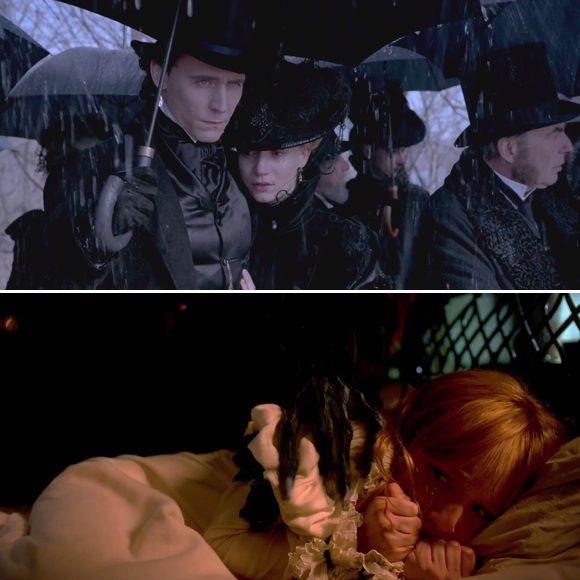 Tom Hiddleston, Mia Wasikowska, Jessica Chastain et Charlie Hunnam dans le film Crimson Peak - Bande-annonce | HollywoodPQ.com