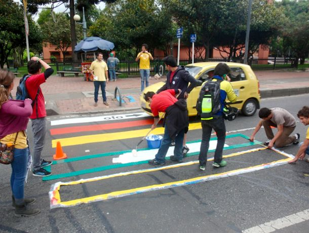 """Improving road safety in Bogotá, Colombia: When asked why they do it, the Combo 2600 openly respond: """"to dignify and prioritize pedestrian citizens; to prove that little changes are determinant in changing social behavior, and because it's also a matter of citizen responsibility and civil participation."""""""