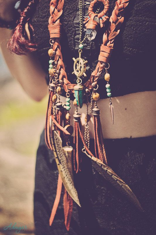 grand forager - necklace - turquoise - feathers - leather fringe - seed - antler - antiqued copper chain