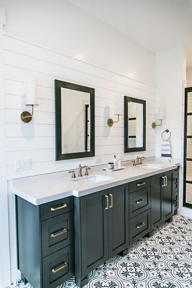 This farmhouse bathroom also features shiplap behind vanity  black framed  mirrors  brass hardware. 245 best Bathroom Vanities images on Pinterest