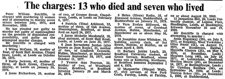6th May 1981 - Peter Sutcliffe charged with the murder of 13 women