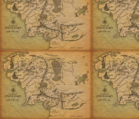 middle earth map small fabric by walkingraven1 on spoonflower custom fabric