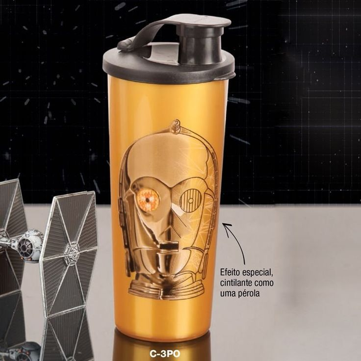 Tupperware Copo C-3PO Star Wars 470ml Dourado tampa Preta - Quer Comprar Tupperware Online? Loja Tupperware