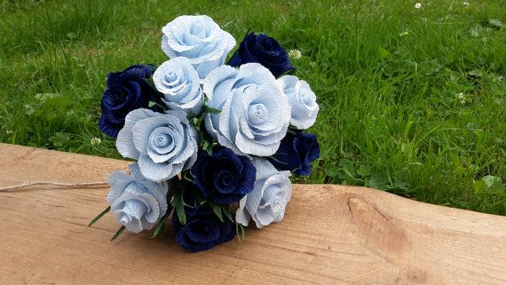 Blue Light Blue Dark Crepe Paper Flowers Wedding by moniaflowers