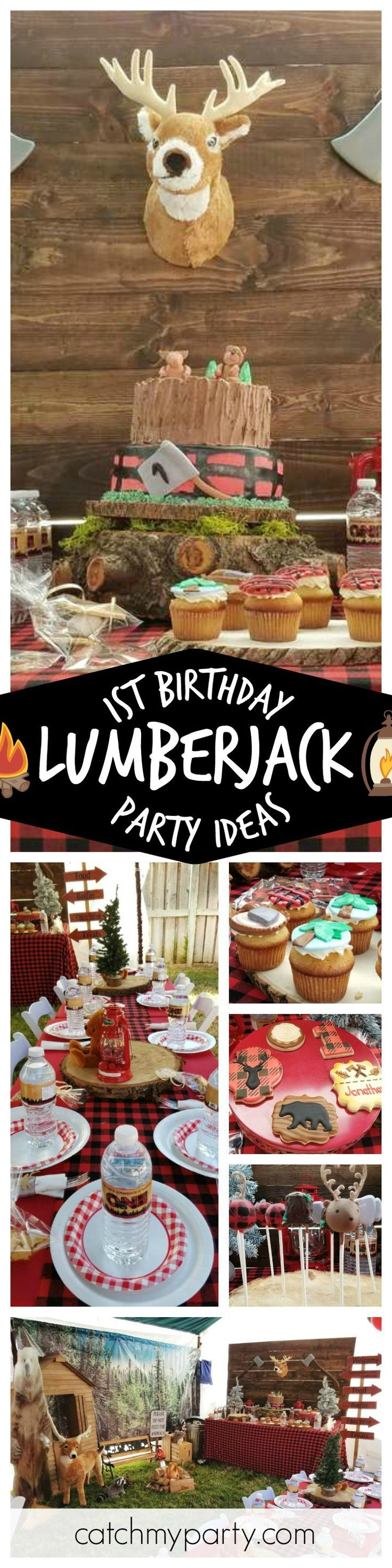 Loving this 1st birthday Lumberjack themed party. The decorations and dessert table are awesome!! See more party ideas at CatchMyParty.com