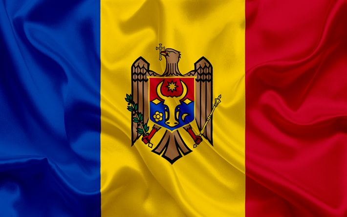 Download wallpapers Moldovan flag, Europe, Moldova, flag of Moldova, national flags, silk texture