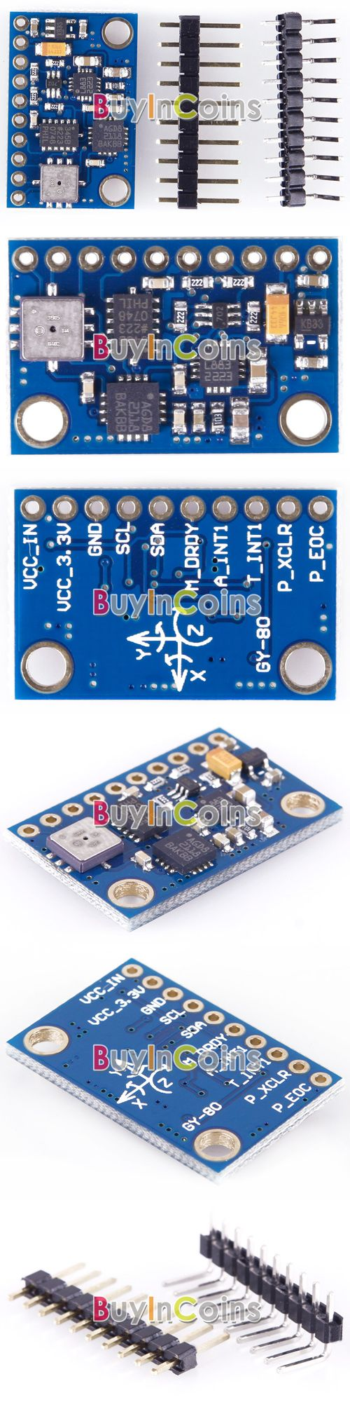 New 10DOF 9-axis Attitude Indicator L3G4200D ADXL345 HMC5883L BMP085 Module -- BuyinCoins.com E 8.11  Versnelling + gyro + magnetic