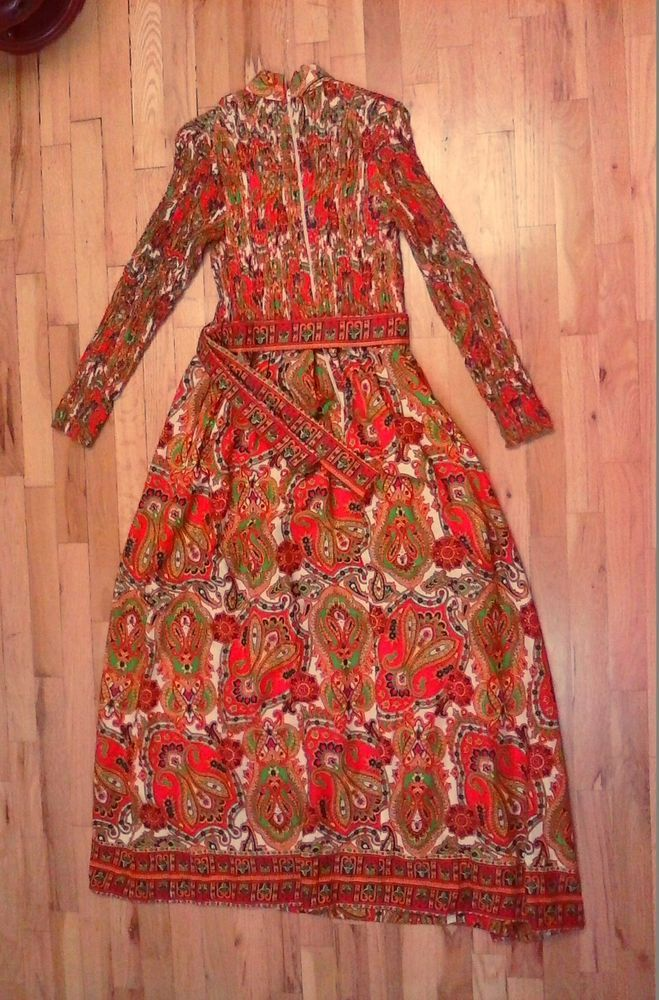 Vintage Glen of Michigan Paisley Floral Flower Child Dress