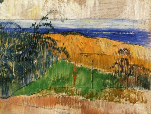 View of the Beach at Bellangenay - Paul Gauguin , 1889