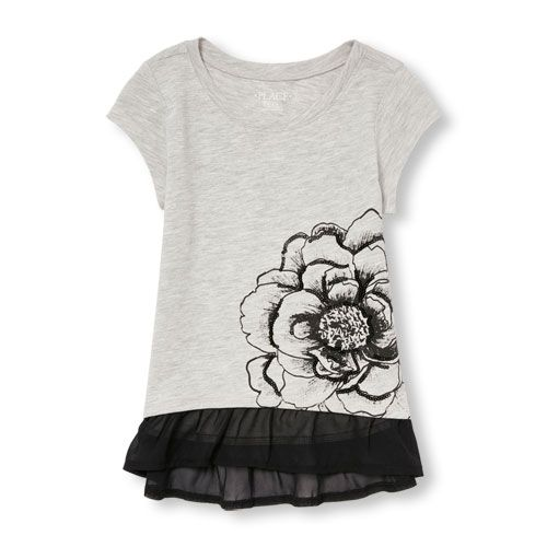 Girls Short Sleeve Embellished Graphic Chiffon Ruffle Peplum Top - Gray - The Children's Place