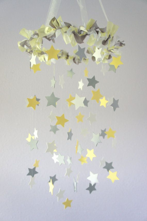Yellow & Gray Star Nursery Mobile  ♥♥♥PLEASE READ BEFORE PURCHASE!!! : All mobiles are HANDMADE TO ORDER, they are NOT premade. Please see Shipping & Policies tab located below listing photos or shop homepage announcement for current make time. ♥♥♥  ♥NEED YOUR MOBILE SOONER?? RUSH SERVICE available for additional fee, see here: https://www.etsy.com/listing/130287764/rush-order-add-on?ref=shop_home_feat INTERNATIONAL BUYERS ♥Our shop has nothing to do with whether your country charges you for…