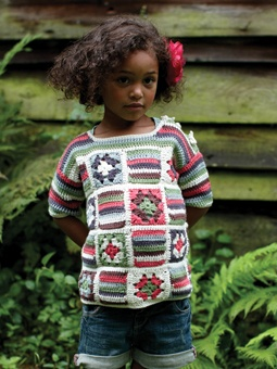 #naturadmc  Crochet this gorgeous colourful sweater for the perfect little girls's summer top.