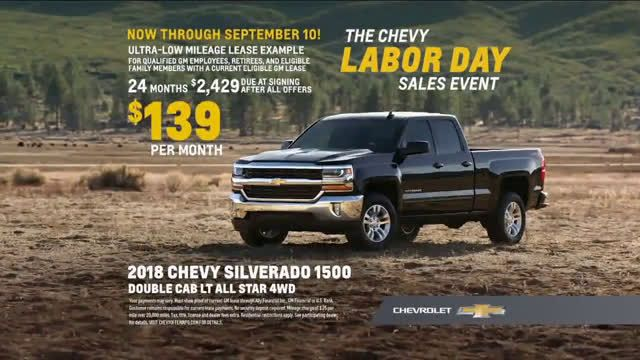 Chevrolet Labor Day Sales Event For The First Time Ad