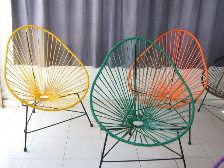Sillas tejidas con plastico para comedor y jardin 350 for Sillas de metal modernas