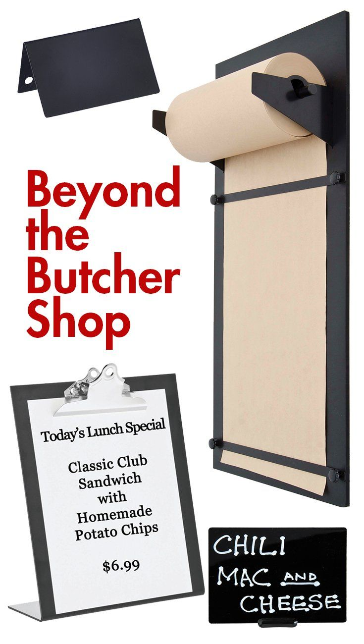 A fresh and creative way to get your message across to consumers who are demanding transparency—they want to know where their food comes from and what is in it. Beyond the Butcher Shop signage pieces are clipboards, butcher paper and chalkboard