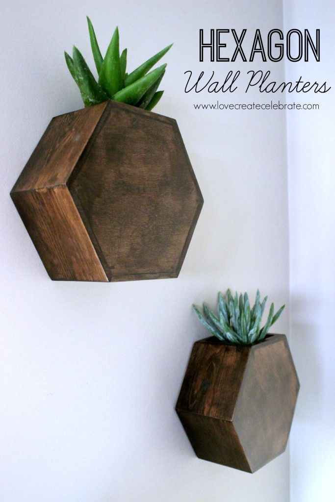 Hexagon Wall Planter - DIY wood project to hold your succulents :)