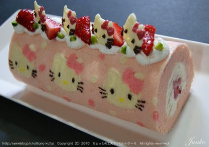 Hello Kitty jelly roll cake.