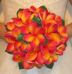 Plumeria Wedding Bouquet. Newly in LOVE with this flower!!