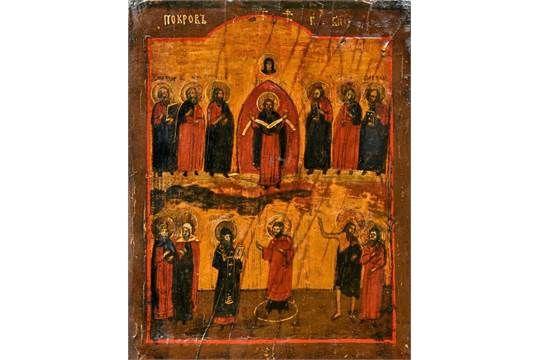 """Ikone, Russland, 18./19. Jh., """"Pokrov- Maria Schutz und Fürbitte"""", Ei-Tempera auf Holz, 31 x 25 c"""