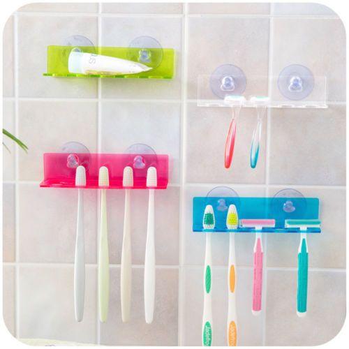 5-Porte-brosse-a-dent-ventouse-mural-support-plastique-enfant-toothbrush-holder