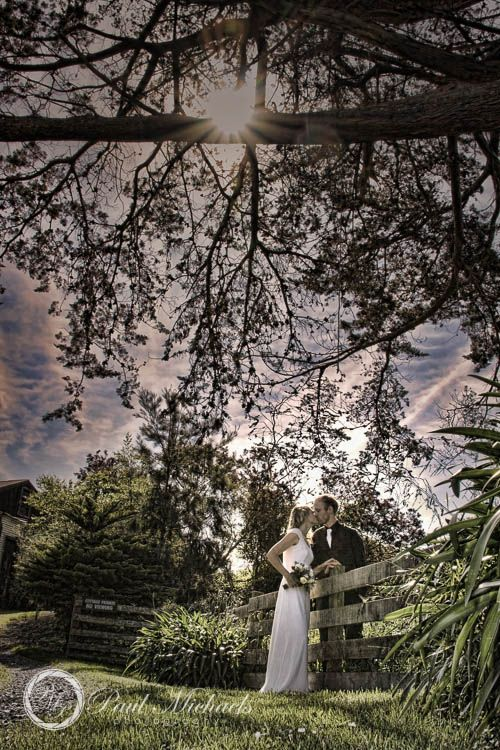 Wedding couple at Ohariu farm by the old woolshed