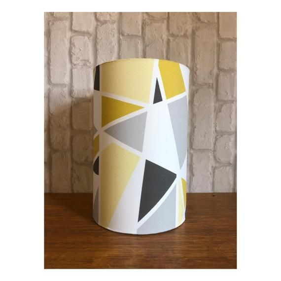 Yellow Mustard Grey Geometric Lampshade Geometric Lampshade Lamp Shades Handmade Home