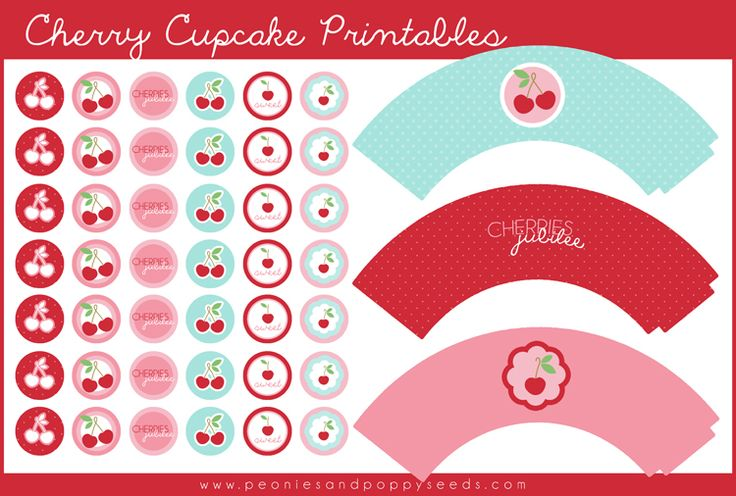 Free Cherry Cupcake Printables in aqua, red and pink | Peonies and Poppyseeds